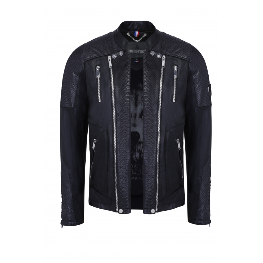 Jacket Manoir Leather and Python Black