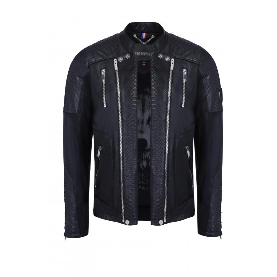 Jacket Manoir Leather and Python Black