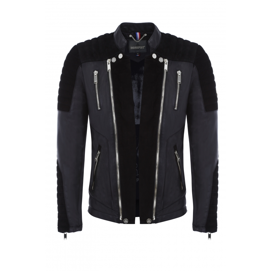 Jacket Manoir Leather and Suede Black