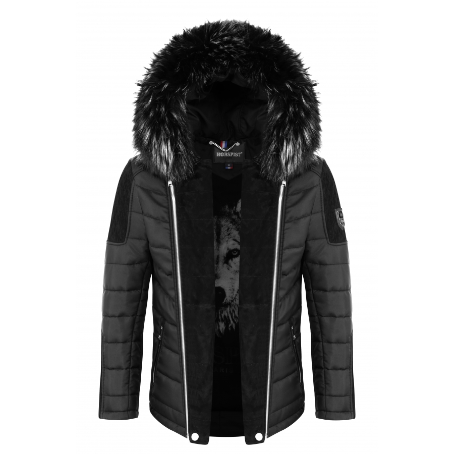 Down Jacket Carlton Black Suede