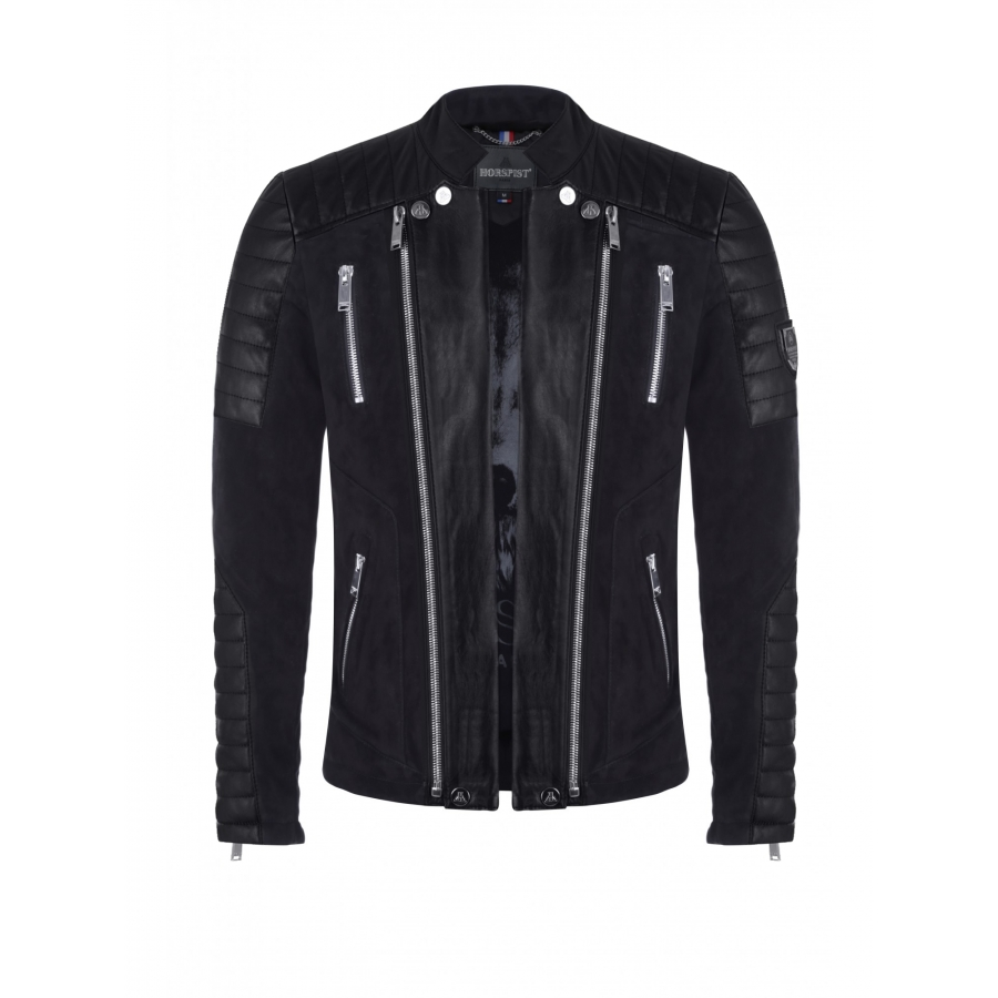Jacket Manoir Suede and Leather Black