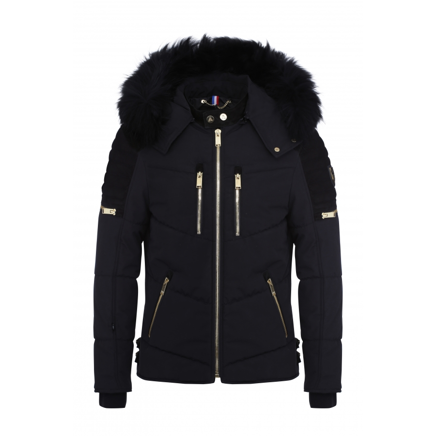 Down Jacket Carbone Suede Black and Gold