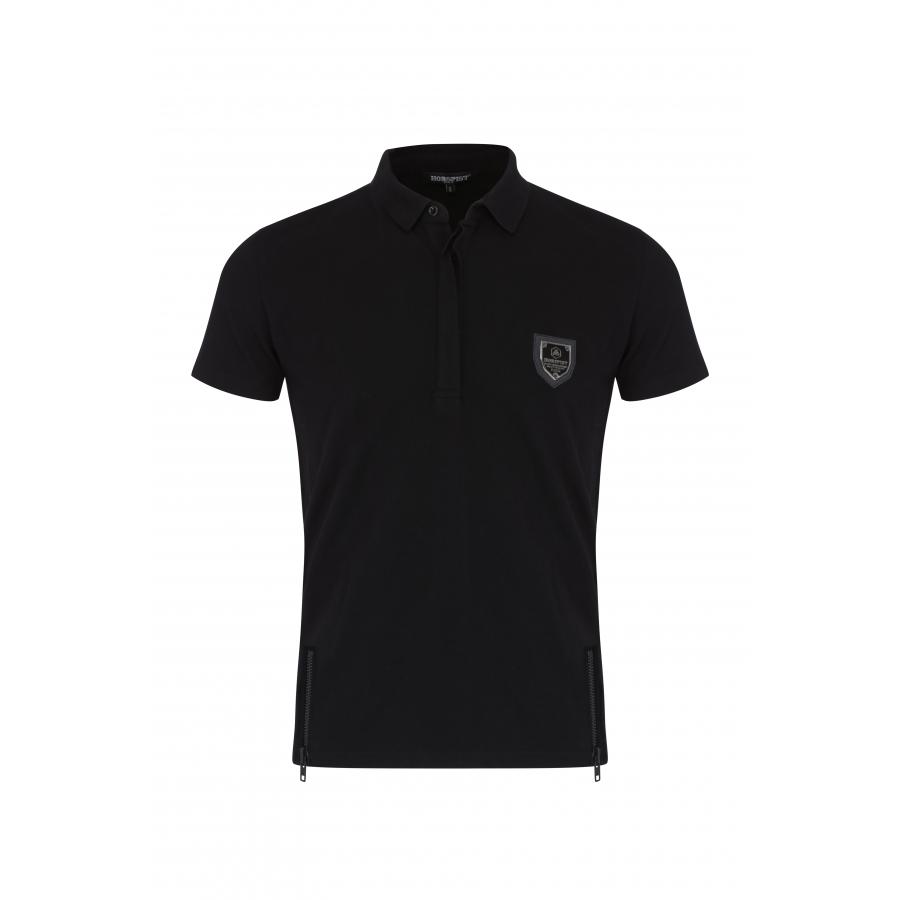 Polo Noir avec Zip Blason Noir