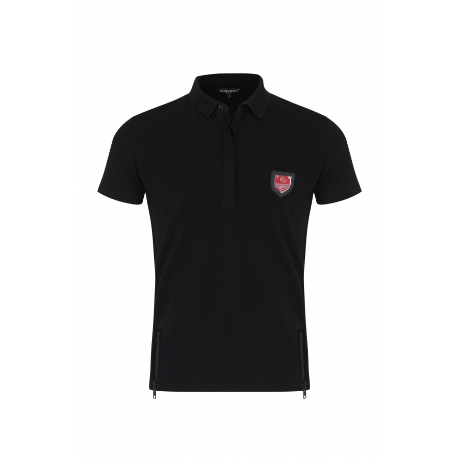 Polo Noir avec Zip Blason Rouge